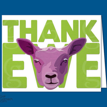 """Thank You notes, Greeting Cards, """"Thank Ewe"""" Sheep, Cut paper, Burlap texture, Funny, Printed Design on Cardstock, Blank 5.25x4in & Envelope"""