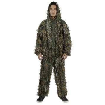 3D Camo Bionic Leaf Camouflage Jungle Hunting Ghillie Suit Set Woodland Sniper Birdwatching Poncho Manteau Hoodie with Pants