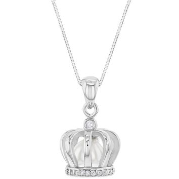 """925 Sterling Silver Clear CZ White Simulated Pearl Crown Pendant Necklace Girls 16"""""""
