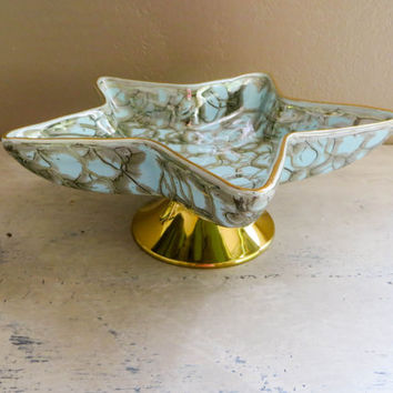 Vintage Pottery Holland Pottery Delft Holland Pottery Brass Decor Blue Decor Star Pottery Candy Dish Pedestal Dish Ceramic Dish Mid Century