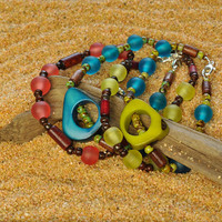Colorful Tagua Nut and Fair Trade Resin Hand Knotted Lightweight Stacking Bracelet