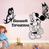Wall Decal Minnie Mouse Sweet Dreams Butterfly Vinyl Sticker Decals Nursery Baby Room Kids Boys Girls Home Decor Bedroom Art Design Interior NS878