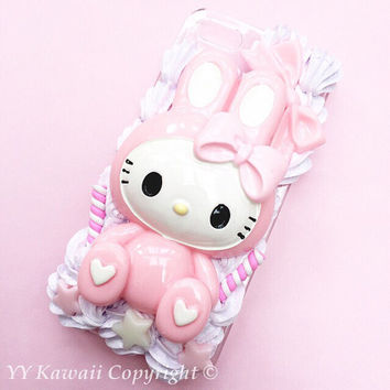 Kitty bunny Kawaii silicone Decoden phone case for IPhone 4S, iPhone 5 5s 5c 6 6 plus or Samsung Galaxy s3 s4 s5 and more