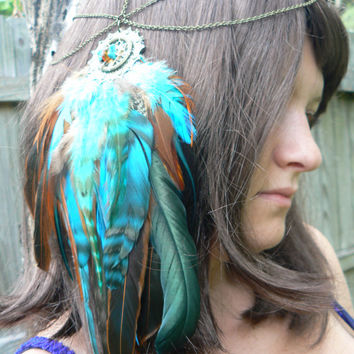 feather head chain Amber and turquoise dreamcatcher headdress halo head piece in tribal Native American boho gypsy hippie hipster style