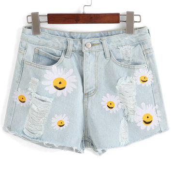 Blue Chrysanthemum Print Ripped Denim Shorts