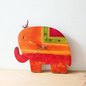 Elephant wall clock, ceramic wall clock of red and orange elephant, hand painted, elephant clock, red elephant nursery clock, boho elephant