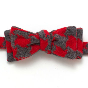 Scarlet & Grey Houndstooth Classic Bow