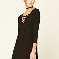 Lace-Up Swing Dress