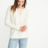 Lace-Up Textured Sweater for Women | Old Navy