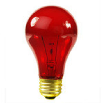 Satco S6080 25 Watt A19 Incandescent Light Bulb, Transparent Red