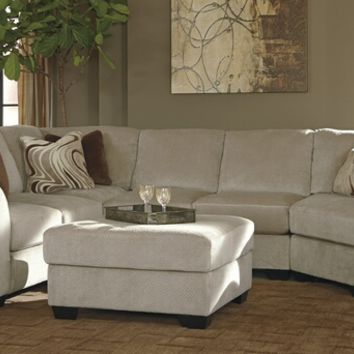 4 pc hazes iii collection fleece colored fabric upholstered sectional sofa with curved arms