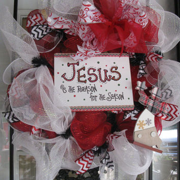 Red ,Black  & White Deco Mesh Christmas Wreath With Jesus Is The Reason For The Season Sign