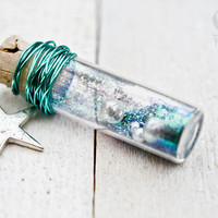 Wish Pendant Glass Bottle Necklace Blue Glitter by ResinRoad