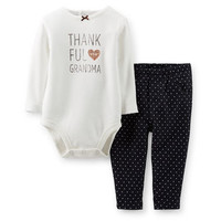 Thanksgiving 2-Piece Bodysuit & Knit Denim Pant Set