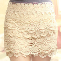 Sweet Lace Cake Mini Skirt