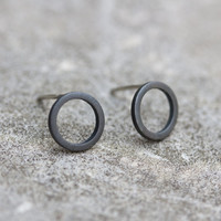 Black round sterling silver stud earrings - minimal, simple every day earrings