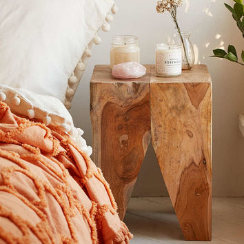 Woodblock Square Stool - Urban Outfitters