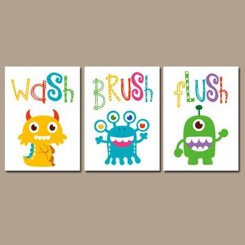 Monster BATHROOM Wall Art, CANVAS or Prints Wash Brush Flush, Monsters Theme Bathroom Decor, Boy Girl Kid Bathroom Decor Set of 3 Pictures