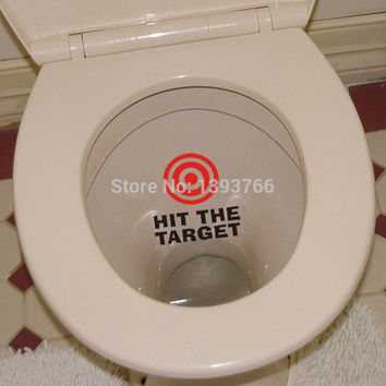 hit the target waterproof funny toilet sticker Bathroom wall personality Seat Sign Reminder Quote Word Lettering Vinyl Sticker