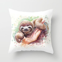 Baby Sloth Watercolor Art Throw Pillow by Olechka