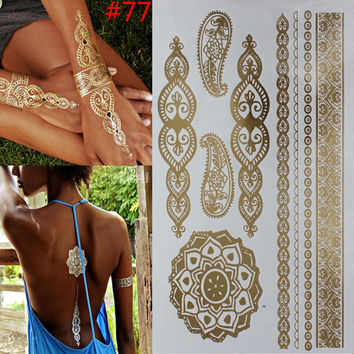 Temporary Gold Tattoo Leave artwork Metallic Braided Jewelry Look Trendy Hot Look