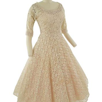 1950s Sequined Champagne Lace Tea Length Dress