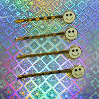 Wholesale 90s Vtg 4 pcs Smiley Face Hair Clips Set. Set of Four. NOS. Club Kids. Kawaii