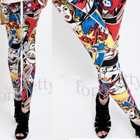 Doodle Wonder Woman Comics Alphabet Bodycon Leggings Tights Pants