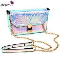 2017 New Holographic Laser Small Clutch Crossbody Bags Lady Serpentine Pattern Handbag Snakeskin Design Women Messenger Bags