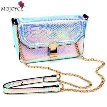 2016 New Holographic Laser Small Clutch Crossbody Bags Lady Serpentine Pattern Handbag Snakeskin Design Women Messenger Bags