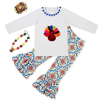2018 baby girls outfits thanksgiving baby kids boutique baby girl kid thanksgiving outfits turkey set with matching necklace bow