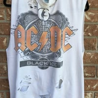 ACDC cut and distressed tank top size large, concert tee, band tee, rock n roll, heavy metal