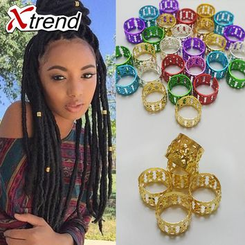 Xtrend Fashion Gold Silver Mixed Color Dreadlock Beads Aluminum metal Adjustable Hair Rings for girl&women 400pcs/lotLinks& Ring