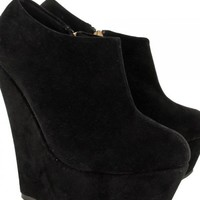 Black Suede High Platforms with Gold Zipper Side