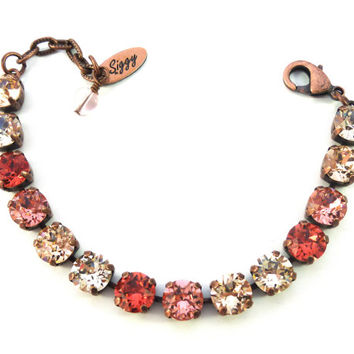 Summer Lovin' Swarovski crystal tennis bracelet in 8mm, peachy Summer colors by Siggy Jewelry