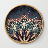 Teal Beige Textured Half Mandala Wall Clock by Sheila Wenzel