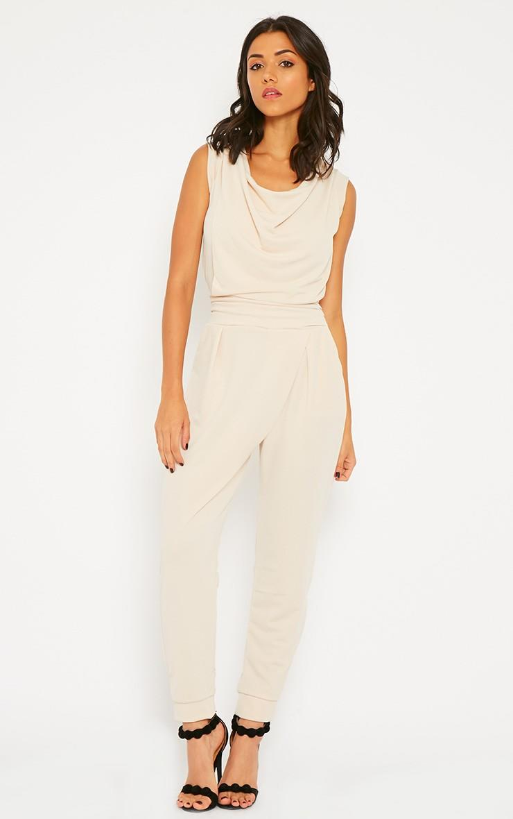 eb0f3f7a653 Cheris Cream Cowl Neck Jumpsuit - From Pretty Little Thing