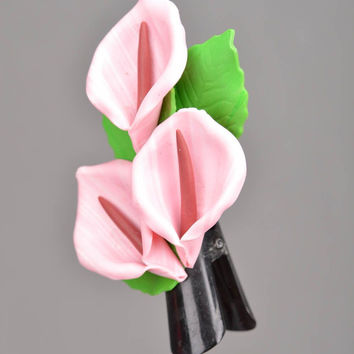 Beautiful homemade polymer clay flower hair clip with pink calla lilies