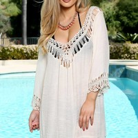 Sexy Beige Embroidered Crochet Sheer Long Sleeve Swimsuit Cover Up