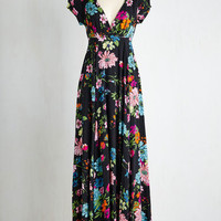 ModCloth Long Short Sleeves Maxi Gambol in the Garden Dress