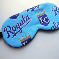 Kansas City Royals Sleep Mask, Man Woman Child Kid Toddler, Black Fleece Satin Cotton, MLB Baseball Fan, Accessory Gift Eye Shade Sleep Wear