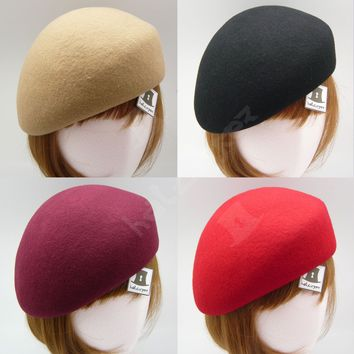 FASHION Wool Felt Women Soft Beret Pillbox Hat Cadet Military | 57cm | Burgundy