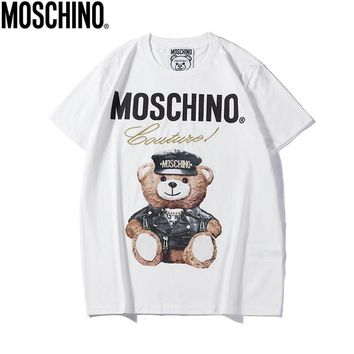 Moschino 2018 new cartoon bear print round neck men and women short-sleeved T-shirt White