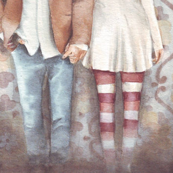 HM072 Original watercolor art painting Love Couple by Helga McLeod