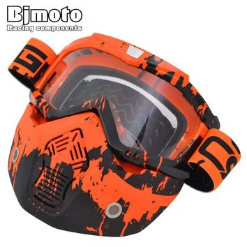 BJMOTO Motorcycle Mask Goggles Detachable Glasses Mask Visor Ski Snowboard Motocross Oculos Gafas for Open Face helmet