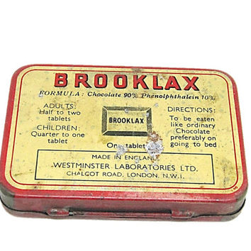 Vintage Original BROOKLAX Tin The British Chocolate Laxative 24 Tablet Empty Tin Box Made in England Collectible Box Collector's Item
