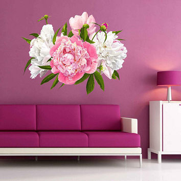 Peony Wall Decal Peony Flowers Wall Sticker Vintage Watercolor Peony Wall Stickers Floral Wall Decals cik2267