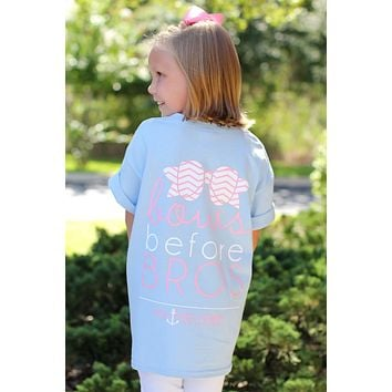 Southern Darlin Funny Bows Before Bros Chevron Bow Anchor Youth Bright Girlie T-Shirt