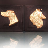 Gold Dog Head Black Plaque Wall Hanging