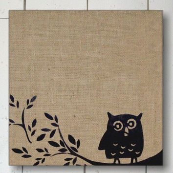 Owl on Branch Burlap Feed Sack over Cork by nextdoortoheaven